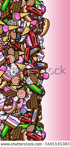Vertical frame with lots of colorful confectionery and sweets