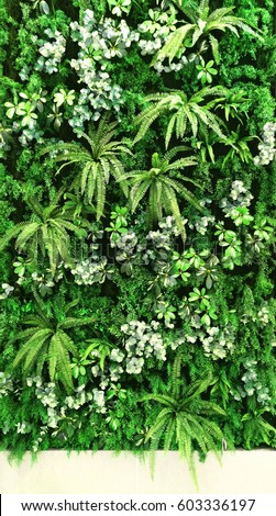 vertical garden with tropical green leaf, contrast