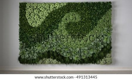 Vertical gardening, 3d illustration