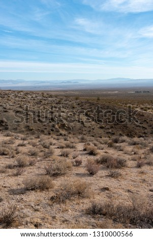 Vertical image. Desert landscape with ravine and valley below under blue sky with clouds. Desert brush in the foreground.