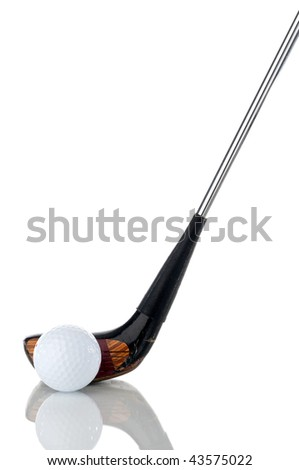 Vertical image of a white golf ball and club on reflective white