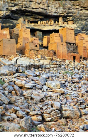 Vertical image of ancient Dogon and Tellem houses at the base of the Bandiagara escarpment in Mali