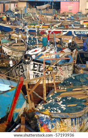 Vertical image of fishing boats in Elmina harbour