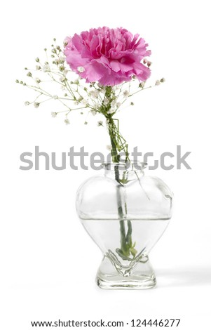 Vertical image of pink carnation with a small white flower on a heart shape clear vase