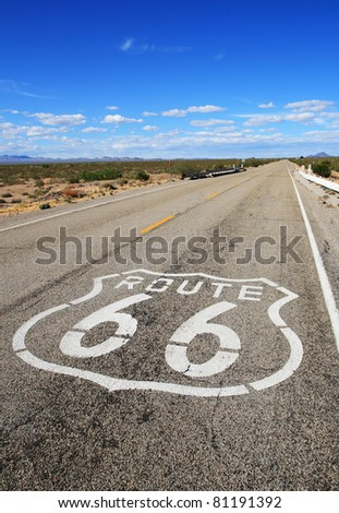 vertical image of route 66 road leading towards the distant horizon in the Mojave desert