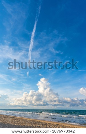 vertical image of the beach with beautiful blue sky on sunny day at Mae Pim Beach on Chakphong Rayong Thailand. #1096970342