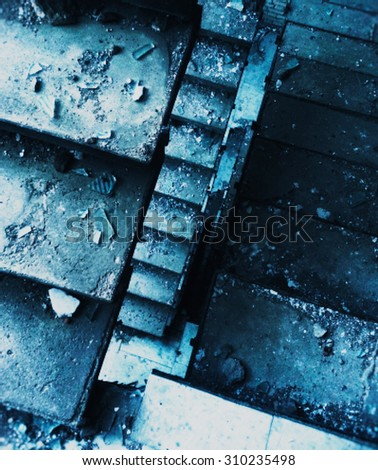 Vertical interlaced pixelated down stairs digital background #310235498