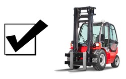 Vertical Masted Forklift Isolated on White Background. Side View of Red Rough Terrain Forklift Truck. Industrial Vehicle. Pneumatic Truck. Diesel Counterbalance Truck. Warehouse Equipment