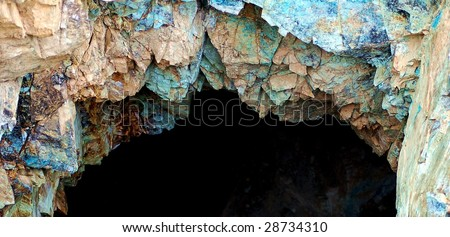 Vertical mine shaft at an inactive copper mine in the Mojave Desert.