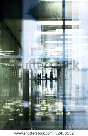 vertical office corridor reflections