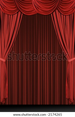 Vertical old fashioned, elegant theater stage with velvet curtains.
