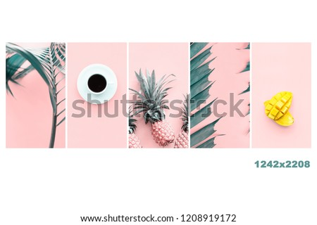 Vertical orientation set flat lay backgrounds in trends pink turquoise colors Tropical fruits mango pine apple White cup coffee Green palm leaves. Concept summer spring time for your design