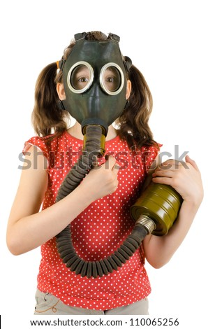 Stock Photo vertical photo  little girl  in gas mask, on white background, isolated