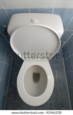 vertical photo of a white clean toilet, tiles on floor and walls