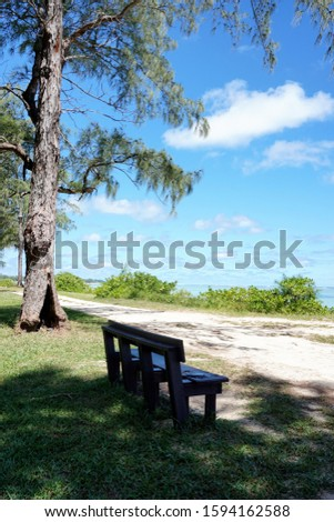 Vertical photo of bench empty beach side with nobody around
