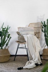 Vertical photo of lounge room at modern house with cozy interior design, comfortable wicker chair, pillows, plaid, carpet on floor, copy space on wall and cactus plants in baskets