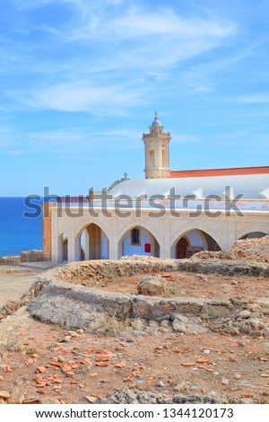 Vertical picture of Apostolos Andreas Monastery in Dipkarpaz, Karpas Peninsula, Turkish Northern Cyprus. The beautiful Orthodox church is a holy place for both Greek Cypriot and Turkish Cypriot.