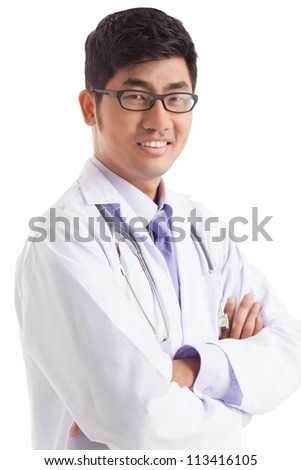 Vertical portrait of a smiling medical man isolated against white background