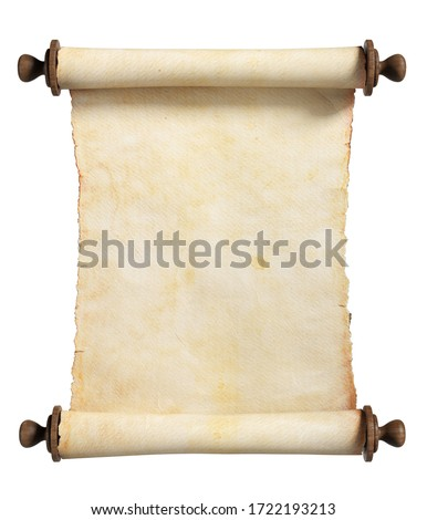 Vertical scroll or parchment with wooden handles. Isolated, clipping path included. 3d illustration. ストックフォト ©
