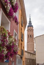 Vertical shot of San Andres church in Calatayud, Zaragoza, Aragon, Spain