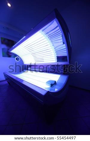 vertical shot of solarium in spa salon