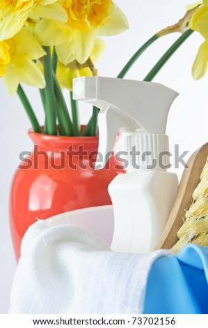 Vertical shot with cleaning products in the foreground and a vase of daffodils in the background to indicate Spring.