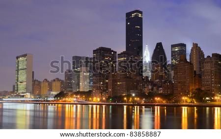 vertical skyline of manhattan with landmark buildings in New York City