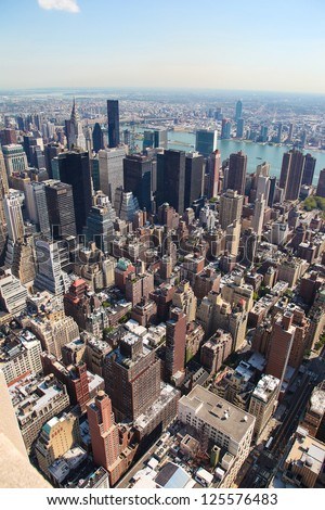 Vertical skyline of midtown Manhattan in New York City, United States