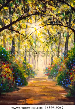 Vertical Sunny forest wood trees Original oil painting. Road in sun summer flowers park alley impressionism fine art hand painted landscape paintings artwork