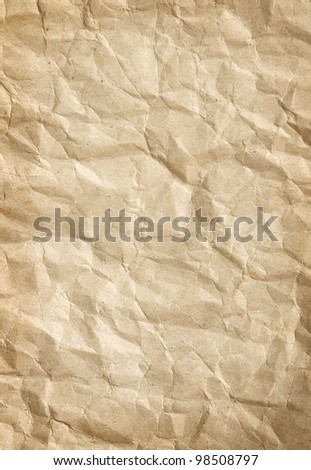 vertical texture of crumpled packaging paper - stock photo