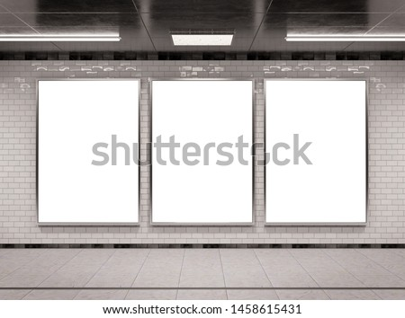 Vertical triple A4 underground billboard frame Mockup 3D rendering