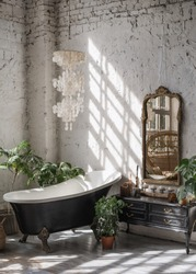 Vertical view of black classic tub at cozy bathroom with interior design in bohemian style, mirror on old wooden commode and house plants in flower pots, against white loft brick wall