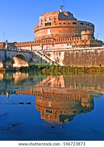 Vertical view of Castel Sant'Angelo, Rome, Lazio, Italy