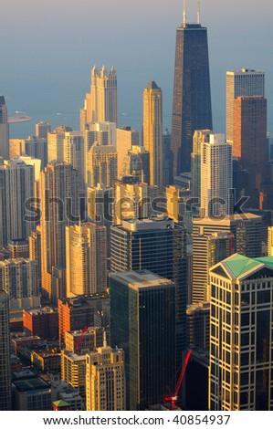 Vertical view of Chicago from the top  of its tallest building