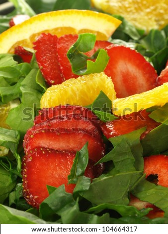Vertical view of colorful salad, close up