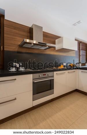 Vertical view of cozy contemporary kitchen interior
