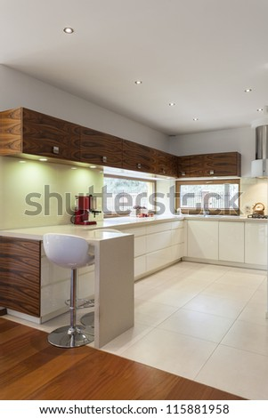 Vertical view of modern kitchen with white counter top