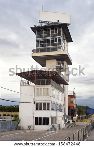 Vertical view of old control tower in Jarama Racetrack, Madrid, Spain. Jarama Control Tower