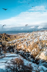 Vertical view of pigeons flying in the Pigeon Valley in Cappadocia, Turkey with typical fairy chimneys and pigeon houses