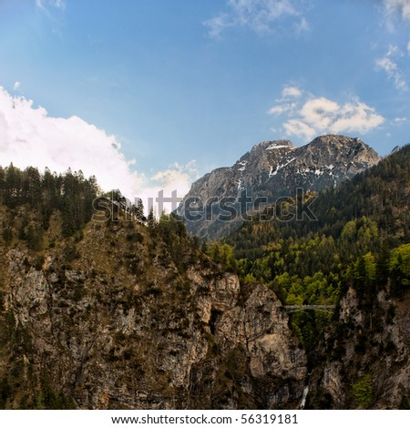 Vertical view of the Bavarian Alps, Germany