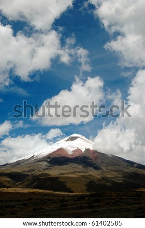 Vertical view of the Cotopaxi volcano (highest active in the world) on a cloudy day in the Andes, Ecuador, South America.