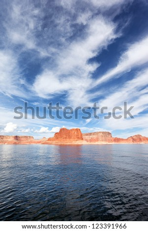 vertical view of the lake Powell, USA