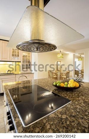 Vertical view of vintage kitchen interior
