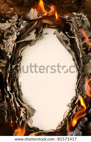 Vertical vintage background with burning paper