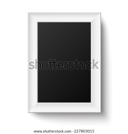 Vertical White A4 Wooden Frame For Picture Or Text Isolated Raster
