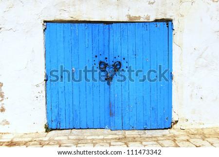 Very ancient blue Tunisan doorway