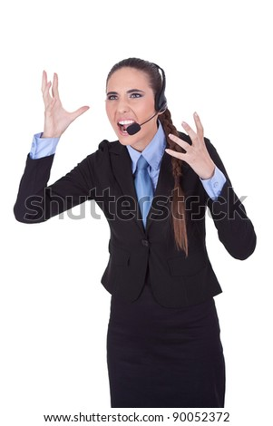 very angry  businesswoman with headset yelling on microphone, isolated a white background