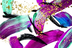 Very beautiful abstract art. Brush strokes on white background. Trendy color- Ultra Violet with golden glitters