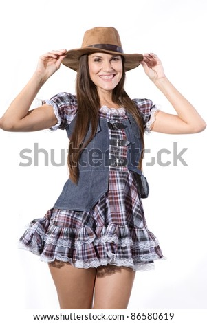 very beautiful and sexy country and western girl in line dance theme