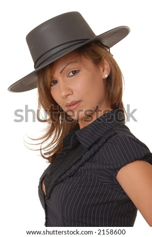 stock photo very beautiful and sexy young girl isolated wearing a bolero hat 2158600 New York State ...